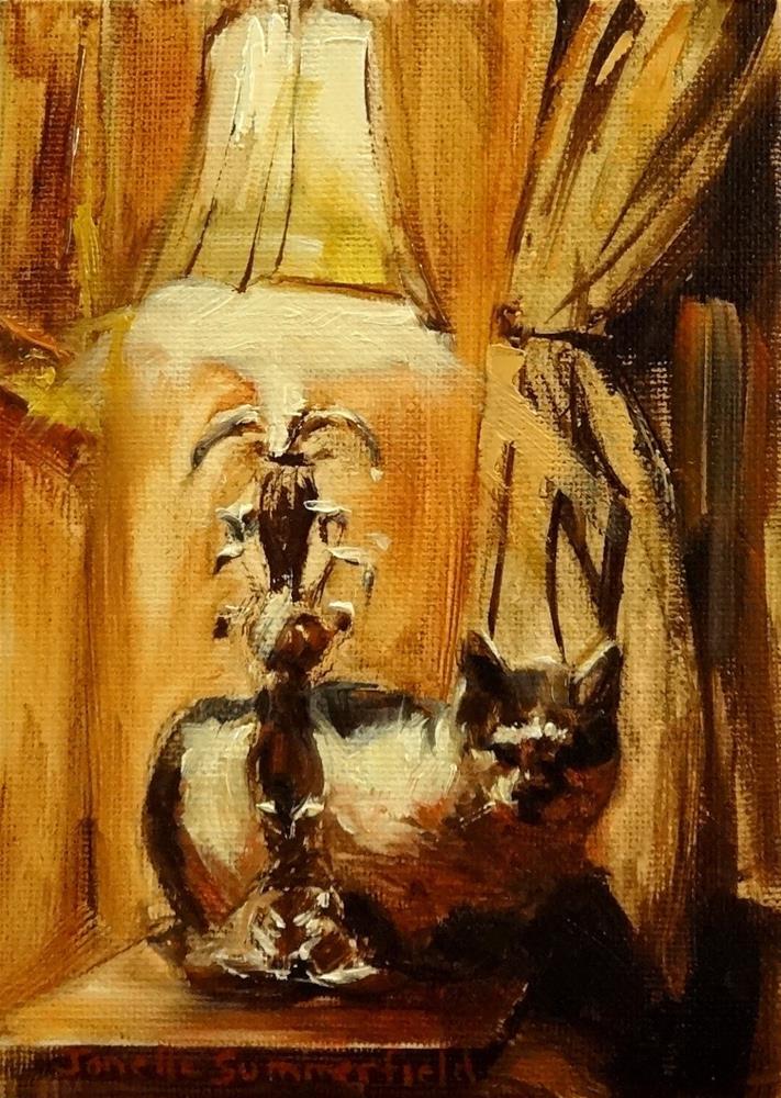 """""""Cat & Lamp"""" original fine art by Jonelle Summerfield"""