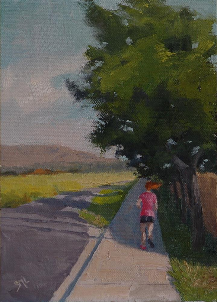 """Squeezing in a Quick Run"" original fine art by Sheila Marie"
