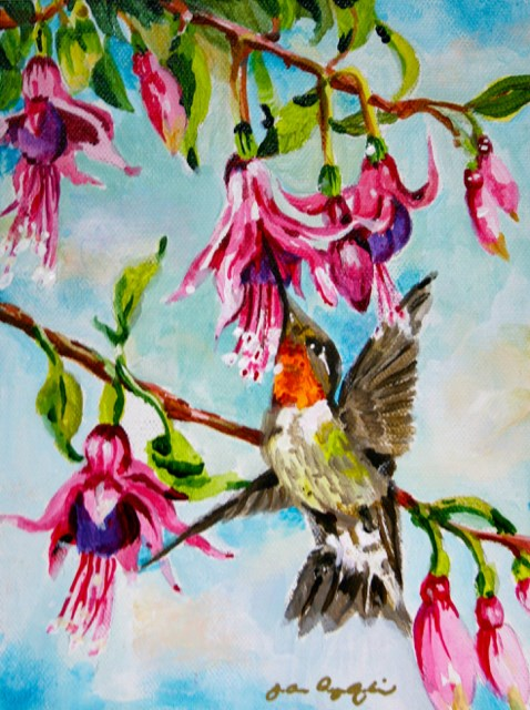 """Hummer Time"" original fine art by JoAnne Perez Robinson"