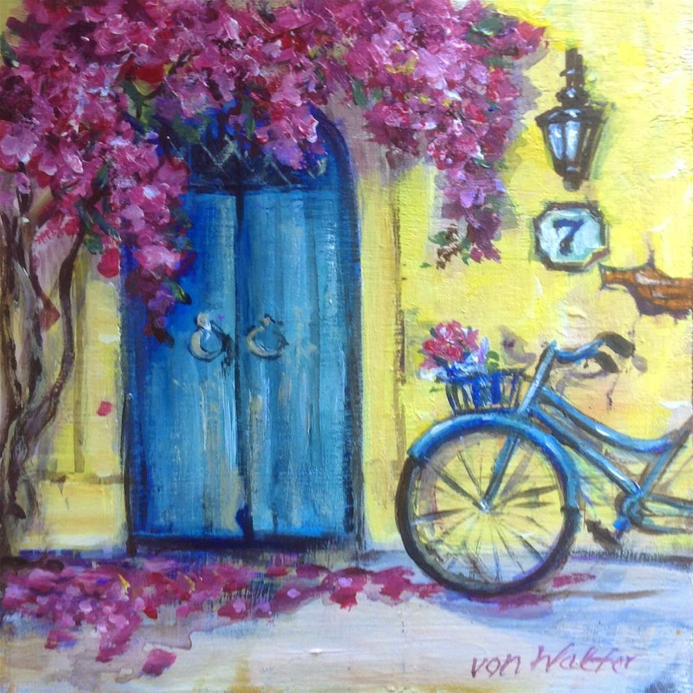 """Lucky number seven - blue bicycle painting"" original fine art by Sonia von Walter"