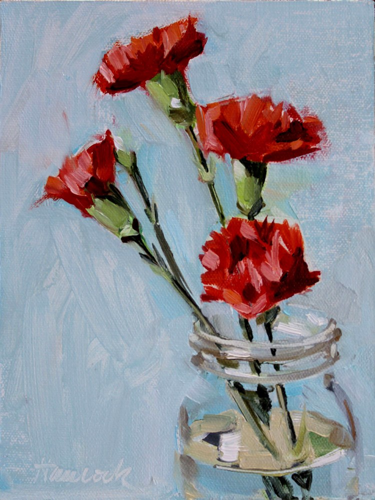 """Four Carnations Glass Jar"" original fine art by Gretchen Hancock"