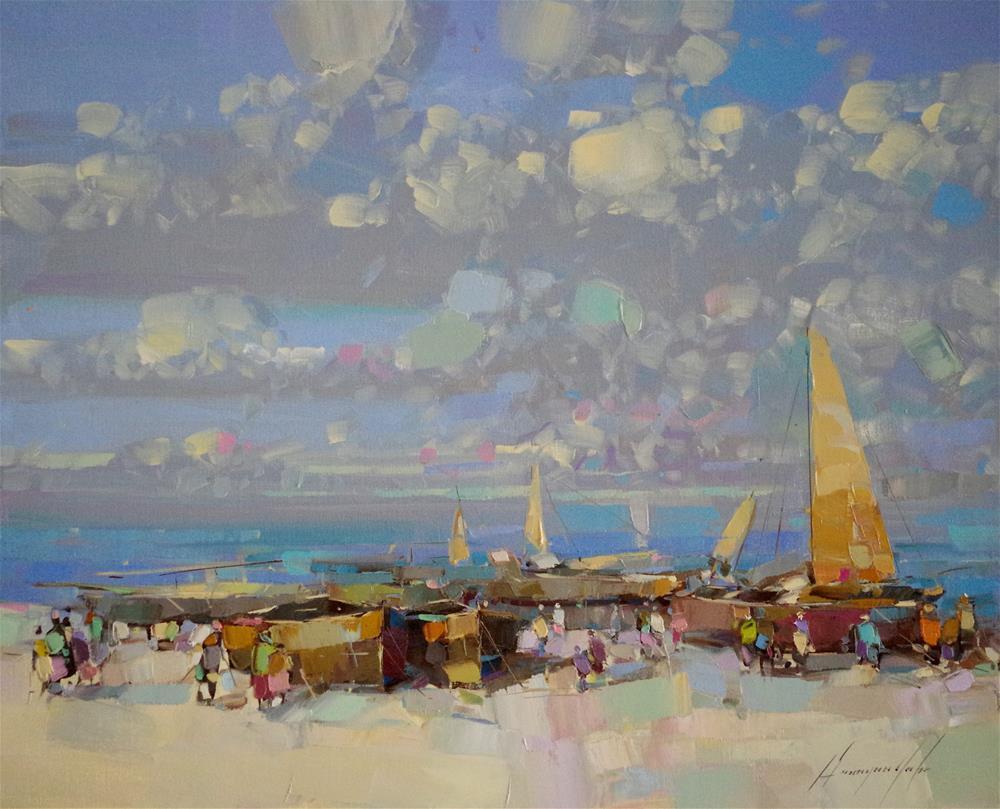"""""""Harbor original oil painting, palette knife art, Impressionism, One of a Kind"""" original fine art by V Y"""