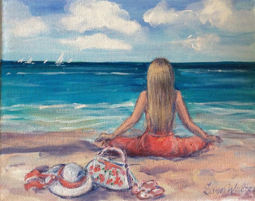"""Meditation on the beach"" original fine art by Sonia von Walter"