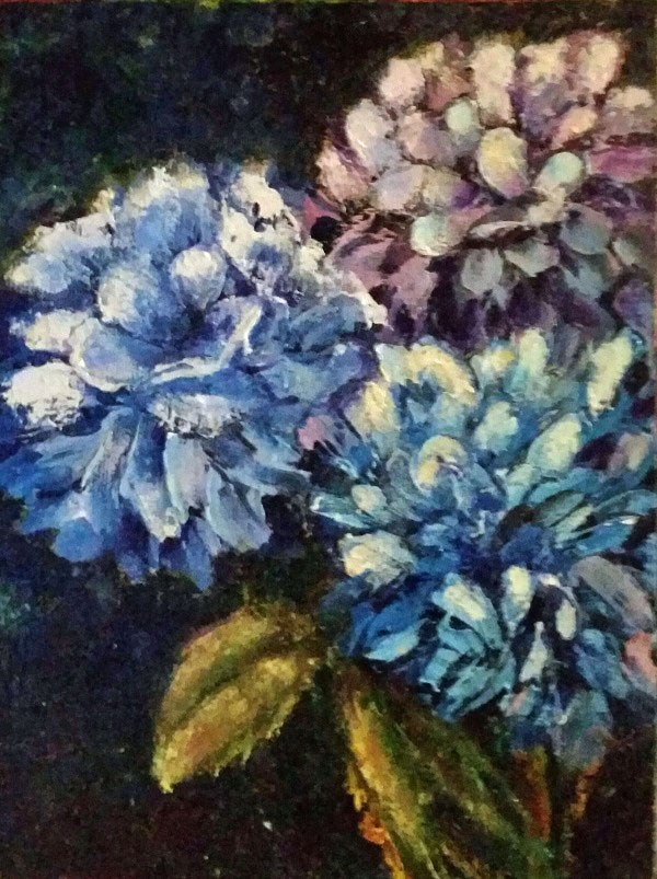 """Hydrangeas"" original fine art by Barbara Janecka"