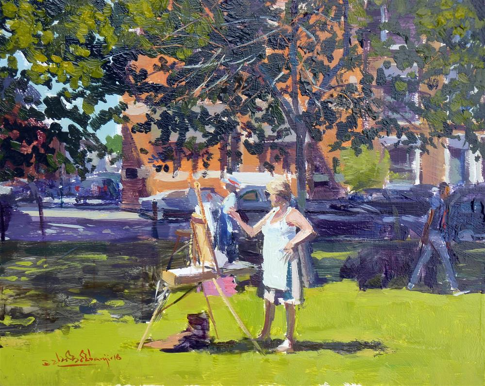 """Sofap Plein Air Painting Day, Parsons Green"" original fine art by Adebanji Alade"