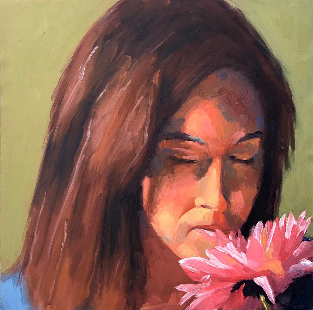 """Rachel with flower"" original fine art by Nina Brodsky"
