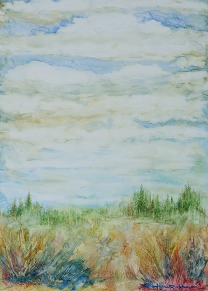 """Distant Forest"" original fine art by Jana Johnson"