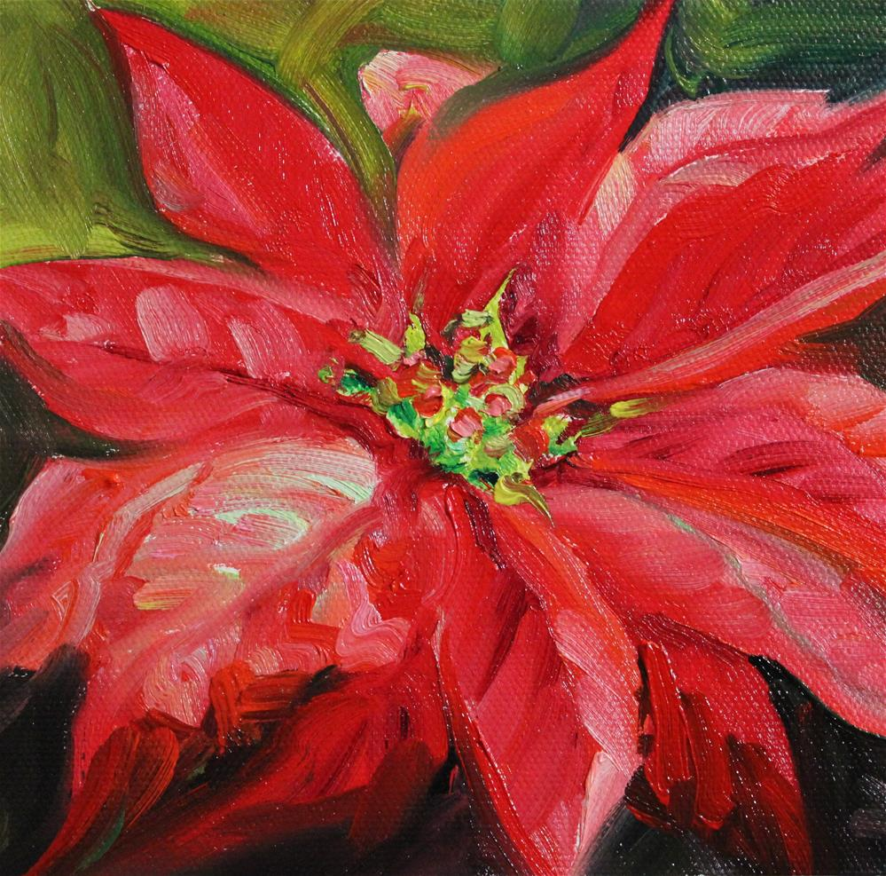 """Poinsettia"" original fine art by H.F. Wallen"