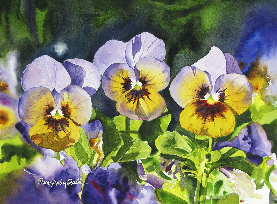 """Pansy Trio"" original fine art by Andy Sewell"