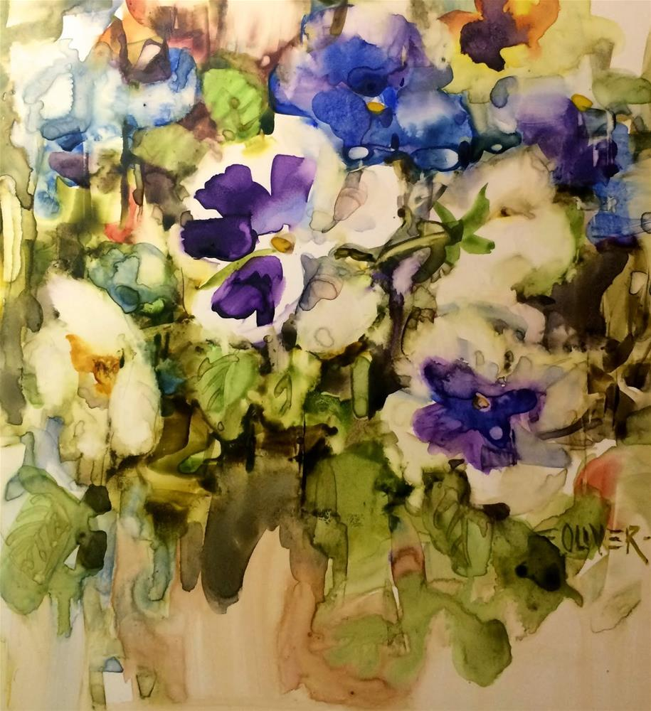 """Watercolor - Pansy Study"" original fine art by Julie Ford Oliver"