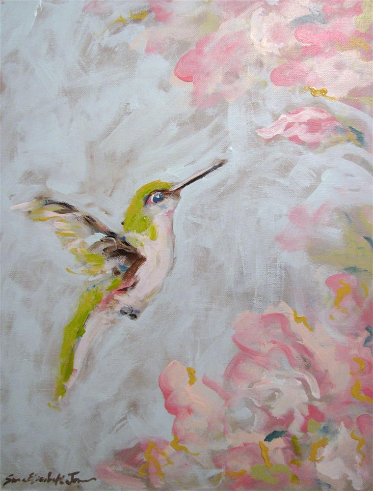 """Hummingbird in Pink"" original fine art by Susan Elizabeth Jones"