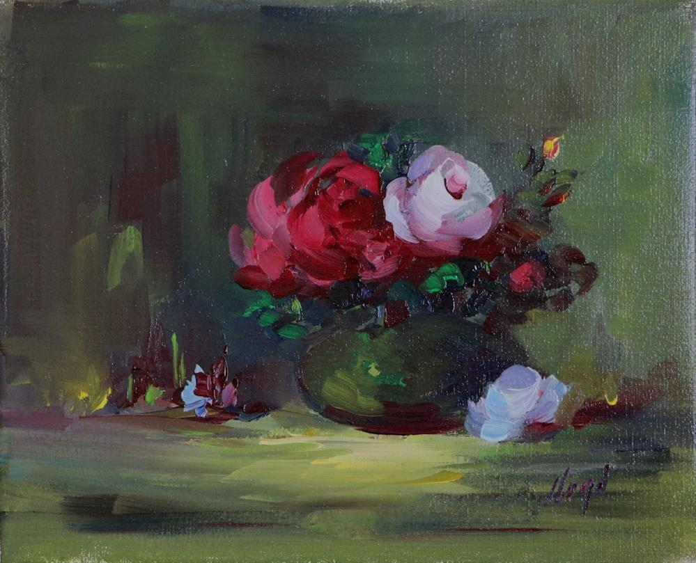 """Roses in Green Vase"" original fine art by Diane Lloyd"