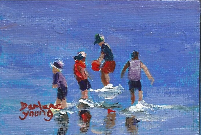 """942 Beach Boys, miniature, 2.5x3.5, oil on board"" original fine art by Darlene Young"