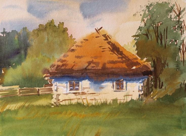 """hut"" original fine art by Beata Musial-Tomaszewska"