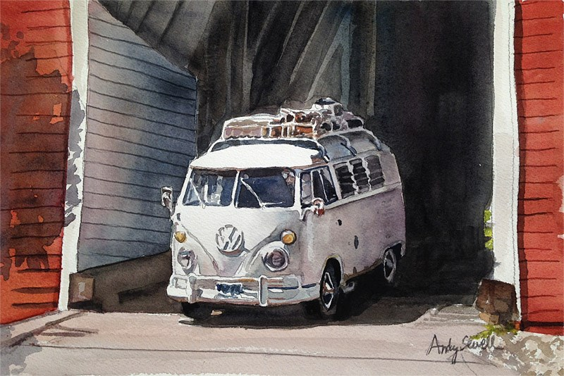"""The Russ Bus"" original fine art by Andy Sewell"