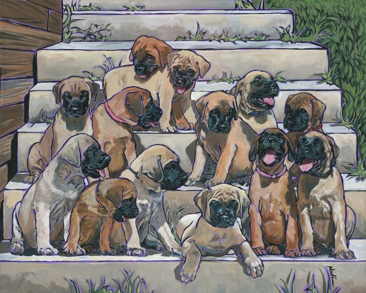 """English Mastiff Puppies"" original fine art by Nadi Spencer"