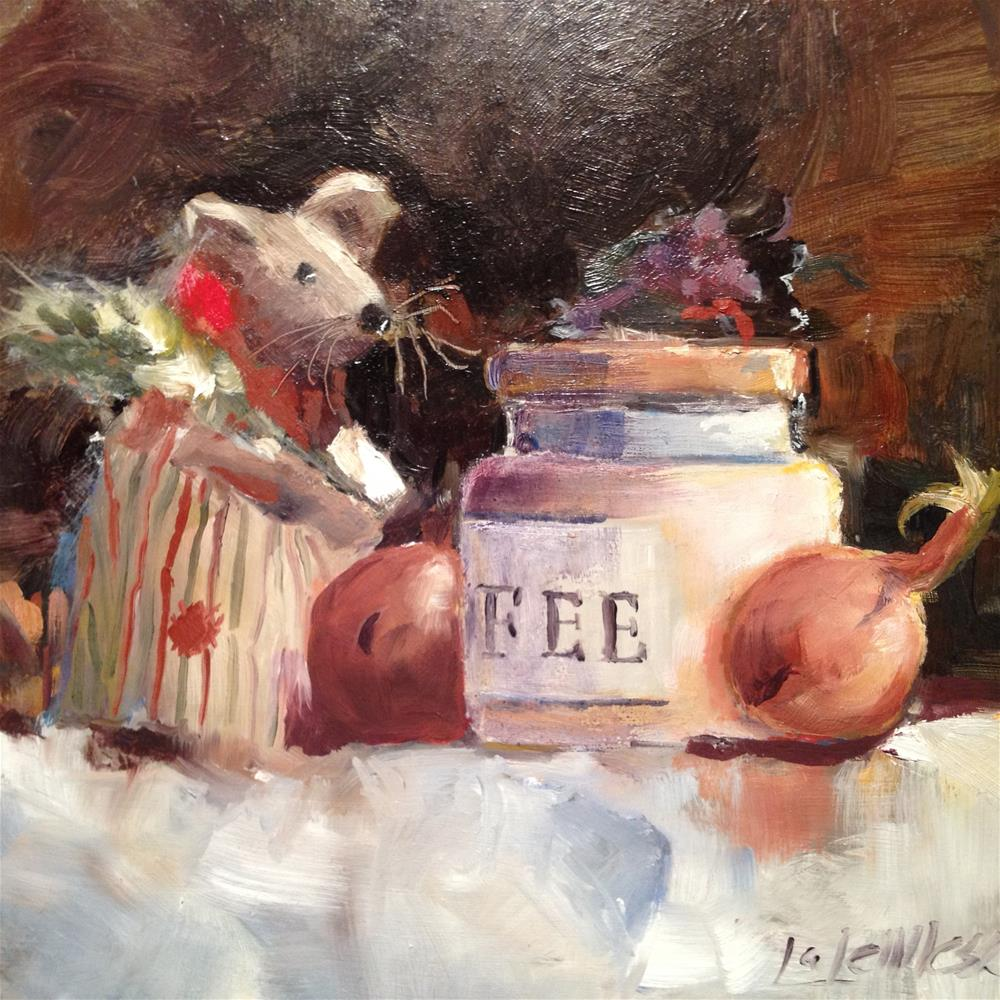 """Mouse in the kitchen"" original fine art by Nancy Lajeunesse"
