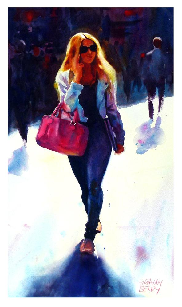 """Girl with the Pink Handbag"" original fine art by Graham Berry"