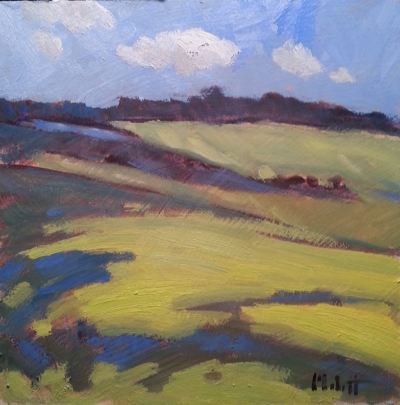 """Rolling Greens Soybean Fields Daily Oil Painting"" original fine art by Heidi Malott"