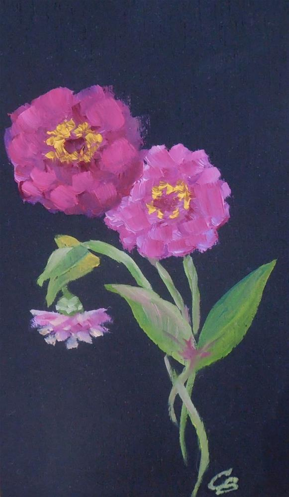 """Tiny Zinnias, 3x5 Oil Painting on Wood Panel, Floral Daily Painting"" original fine art by Carmen Beecher"
