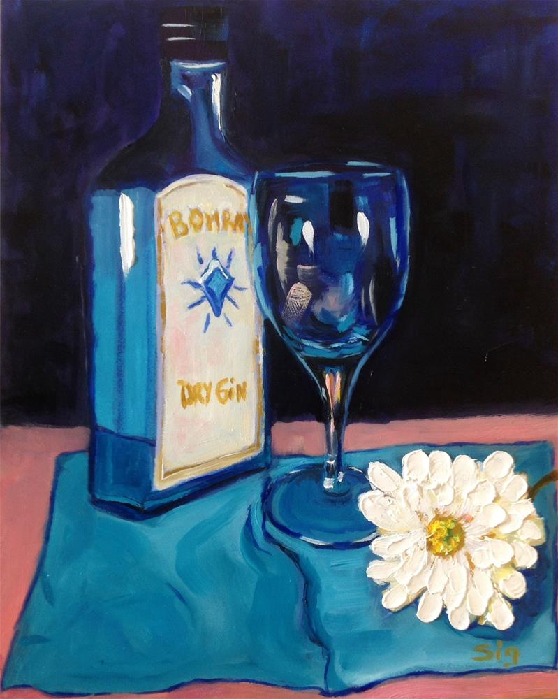 """""""Sapphire & Flower"""" original fine art by Sigrid Victor"""