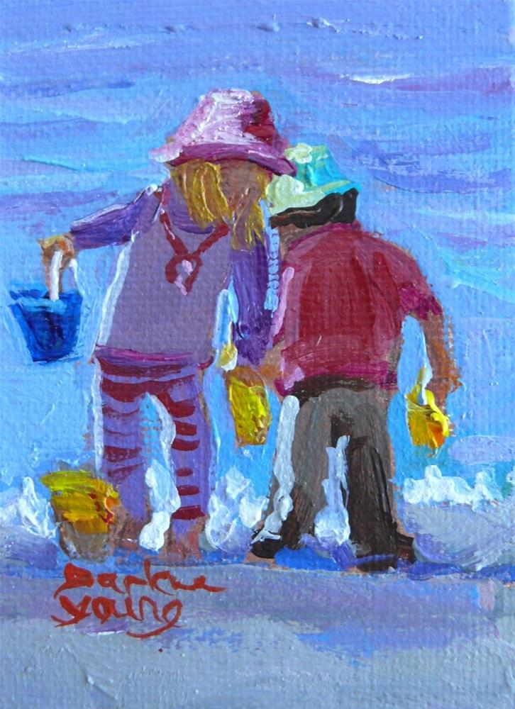 """869 Beach Tots, oil on board, 2.5 x 3.5"" original fine art by Darlene Young"