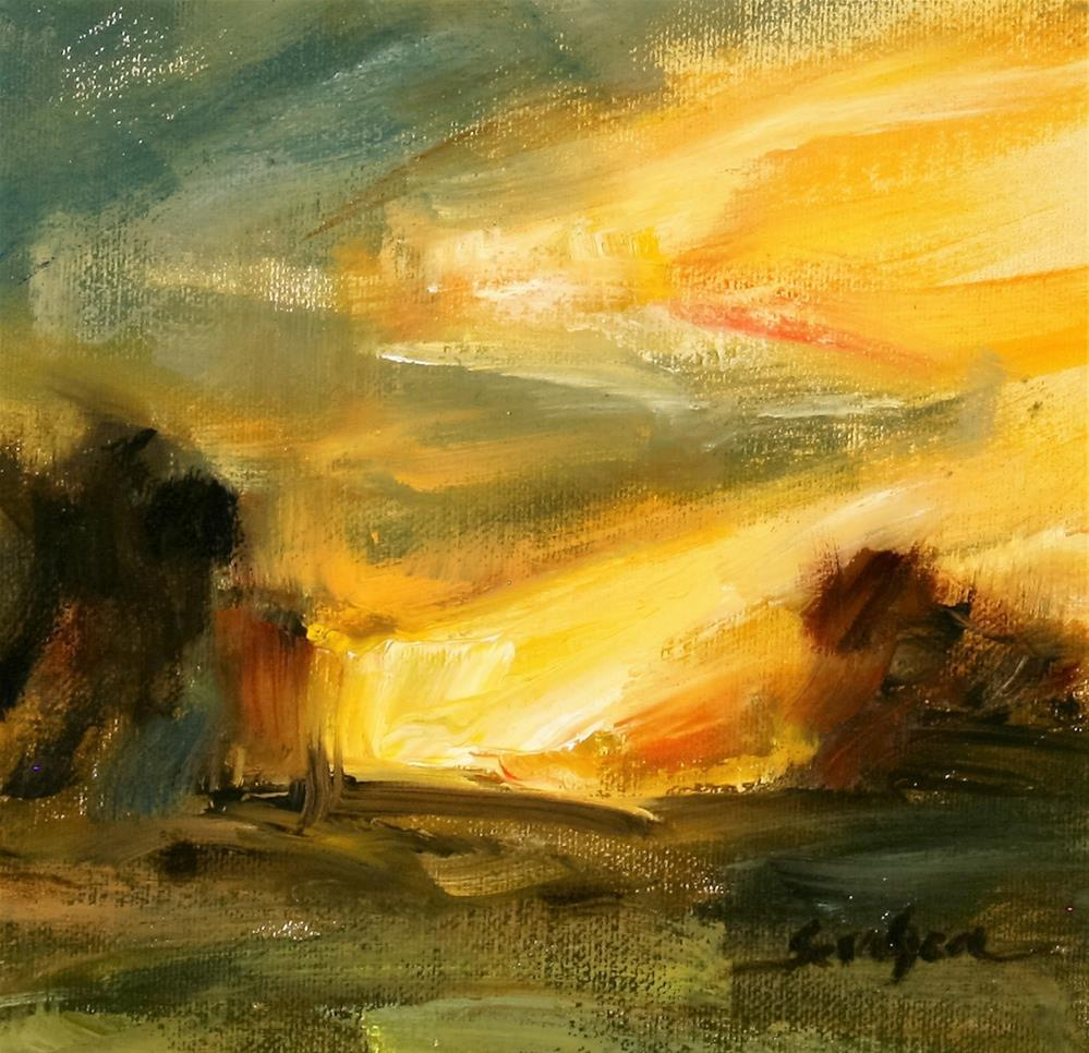 """Glowing Sunset Study"" original fine art by Scott Serafica"