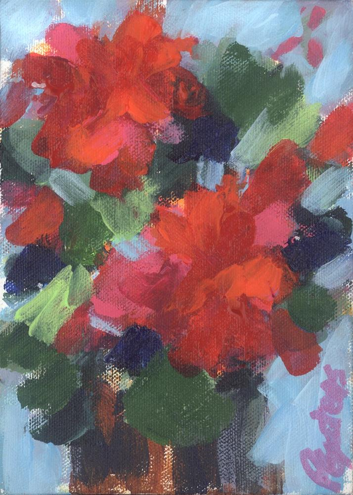 """Mini Geraniums"" original fine art by Pamela Gatens"