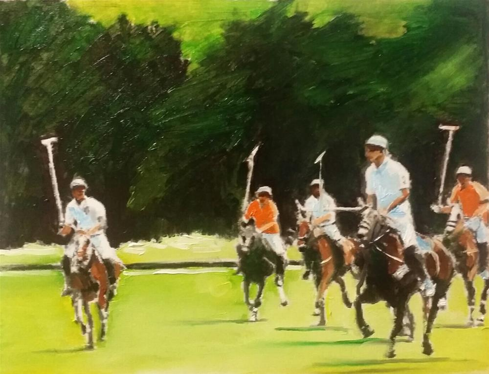 """The Polo Players (12 x 16 Oil on canvas paper - no frame)"" original fine art by Ramon DelRosario"