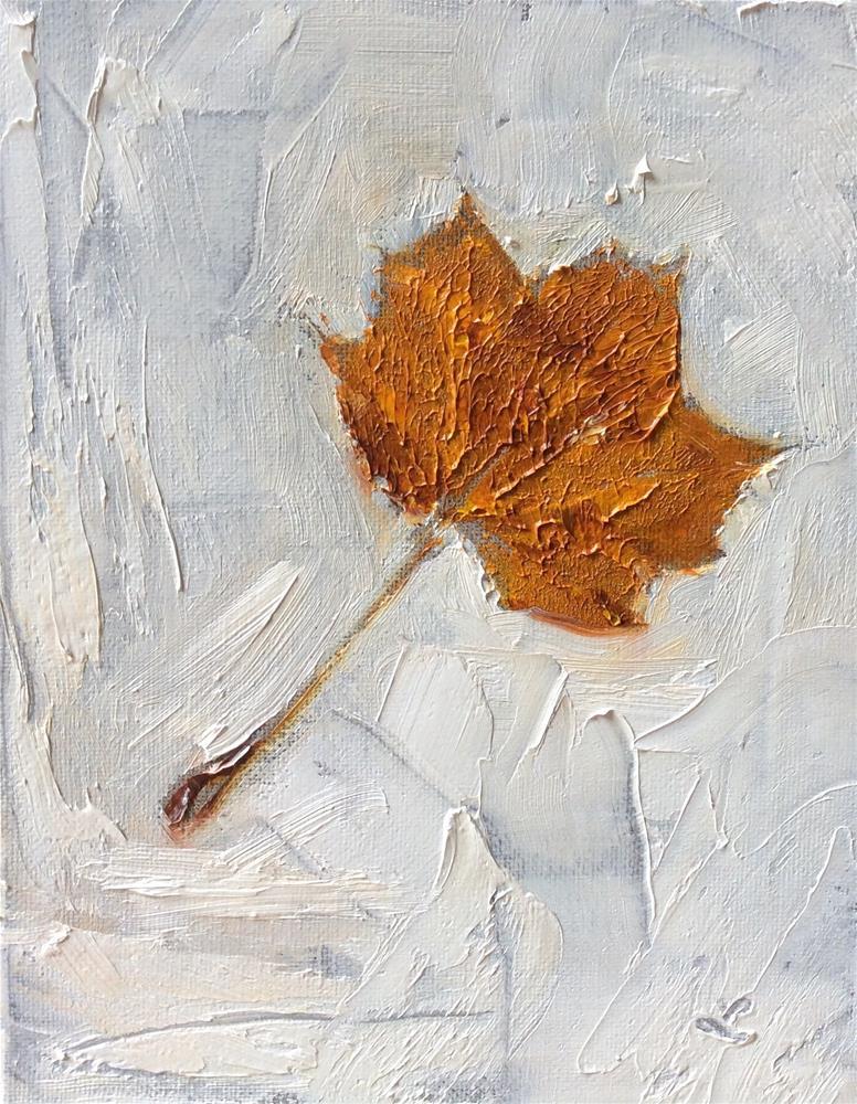 """Leaf in snow"" original fine art by Lori Jacobs - Farist"
