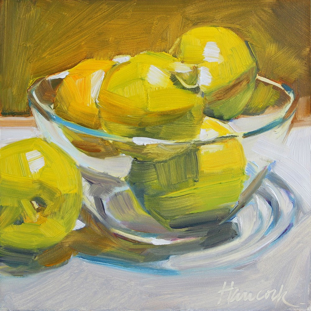 """Lemons in a Glass Bowl"" original fine art by Gretchen Hancock"