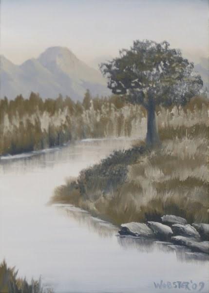 """""""Mark Webster - Grayscape #7 - Landscape Oil Painting"""" original fine art by Mark Webster"""