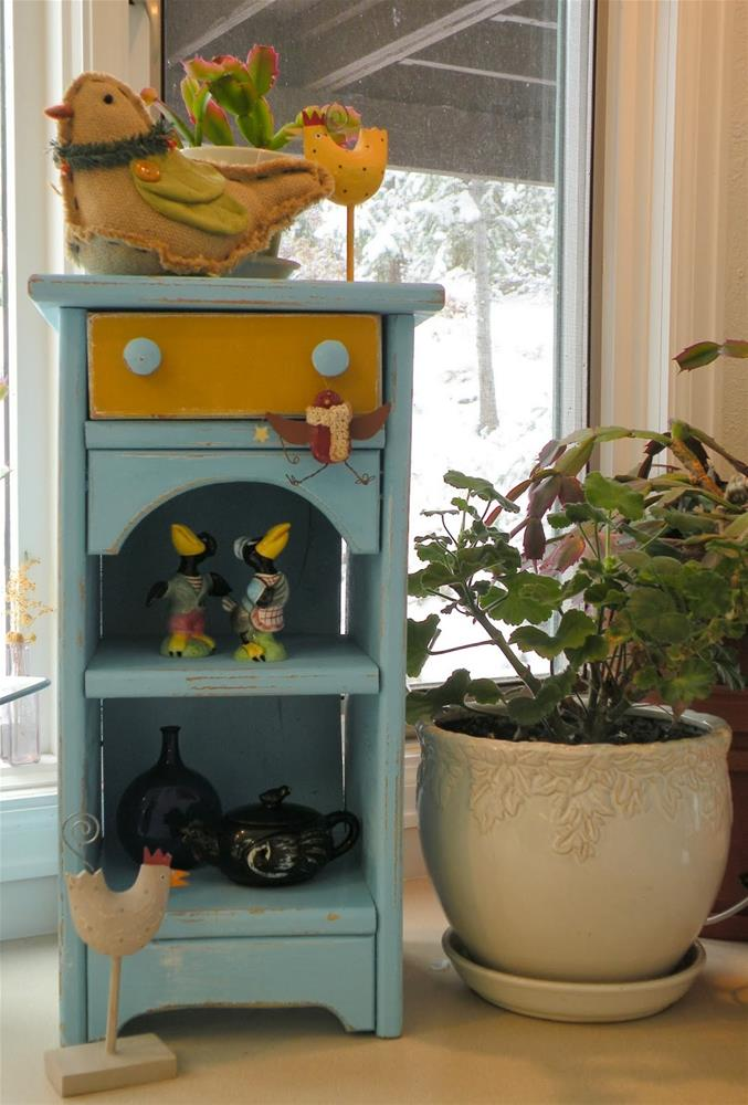 """BIRD ROOST SHELVES ORIGINAL UPCYCLED PAINTED FURNITURE © SAUNDRA LANE GALLOWAY"" original fine art by Saundra Lane Galloway"