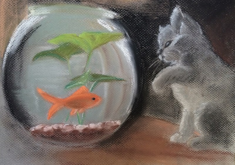 """Polly's Fish 17.5 x 13.5 pastel (price w/out frame  $55)"" original fine art by Nancy Beard"