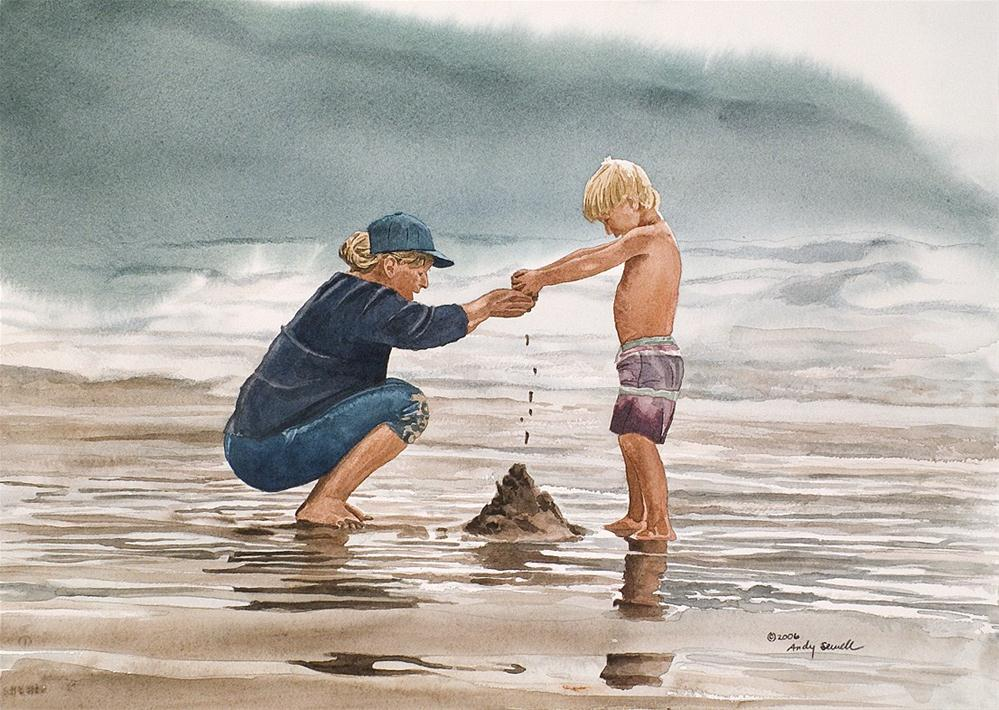 """Building Beach Castles"" original fine art by Andy Sewell"