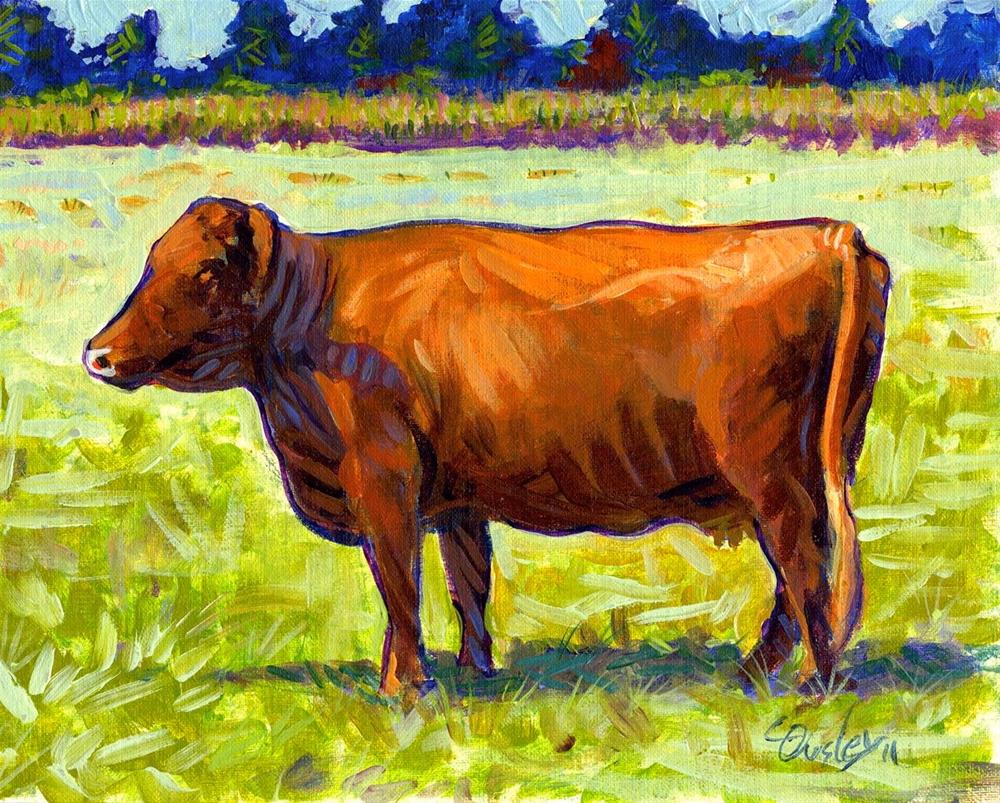 """Red Cow"" original fine art by Chris Ousley"