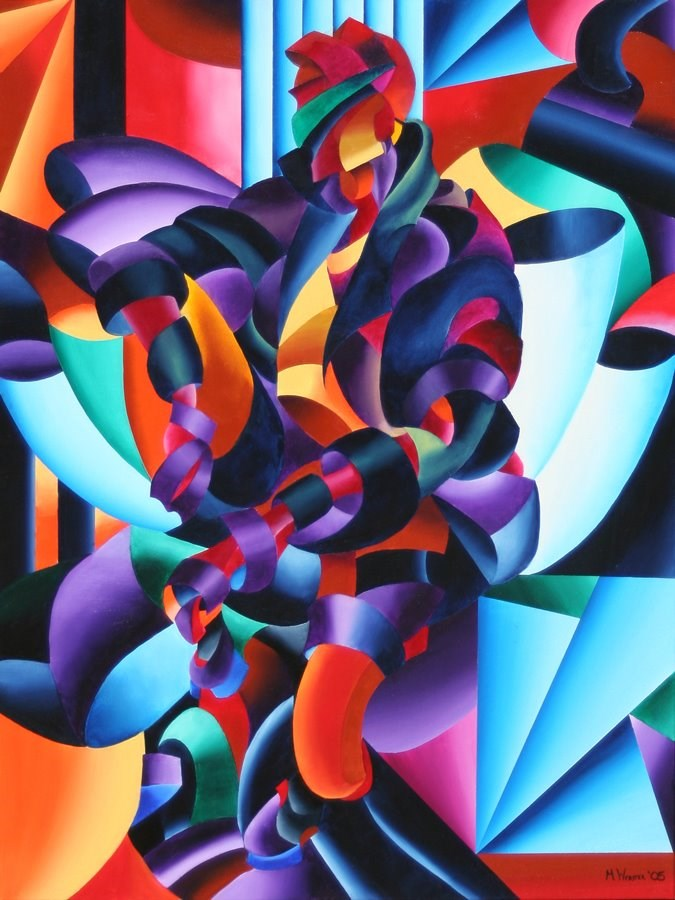 """Mark Webster - Anamorphosis from the Outside In - Abstract Futurist Geometric Figurative Oil Paintin"" original fine art by Mark Webster"