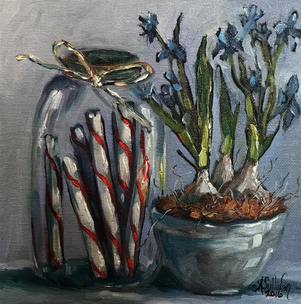 """Forced to Bloom still life painting by Alabama Artist Angela Sullivan"" original fine art by Angela Sullivan"