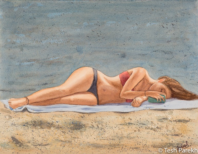 """Sun Texter"" original fine art by Tesh Parekh"