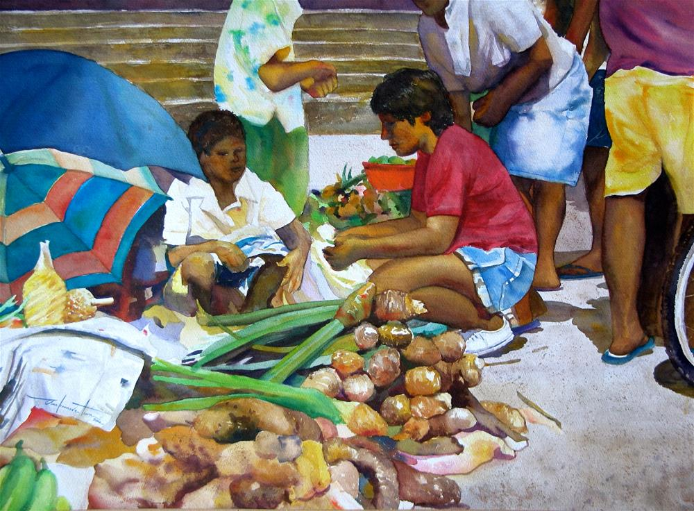 """Vegetable Vendor"" original fine art by Ann Buenaventura"