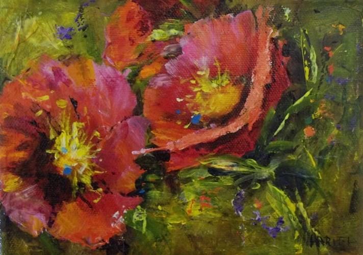 """""""Red Posies en Plein Air"""" original fine art by Alice Harpel"""