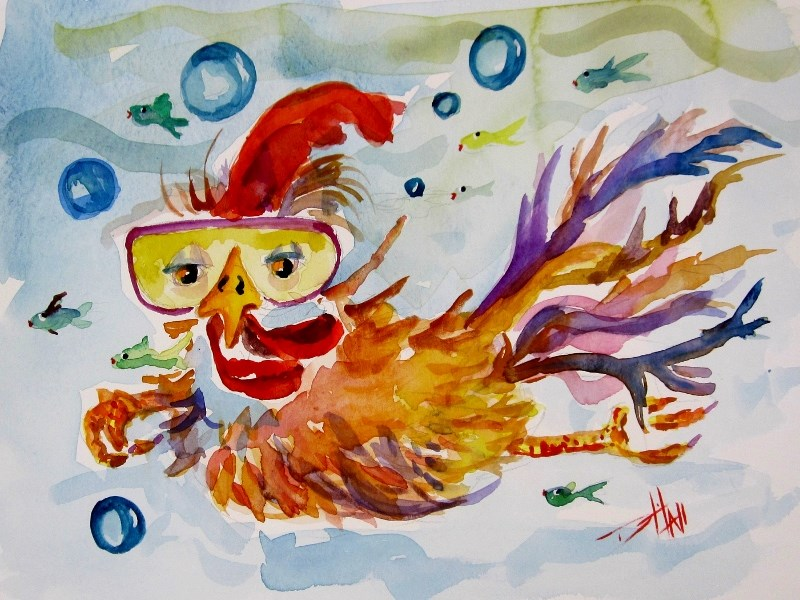 """Swimming Chicken"" original fine art by Delilah Smith"