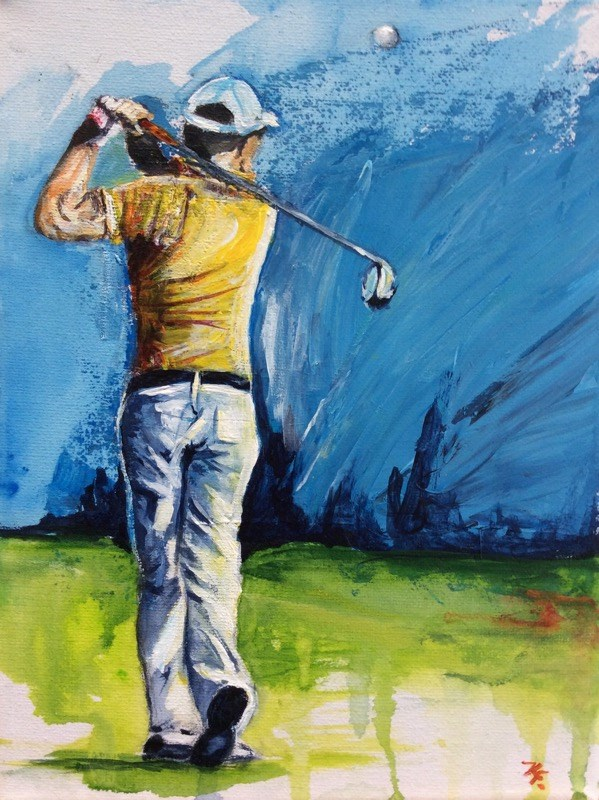 """Hole-in-one"" original fine art by Klaudia Frieda"