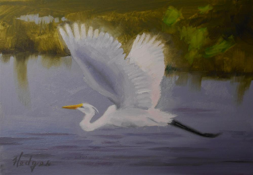 """Egret In Flight"" original fine art by Bruce Hedges"