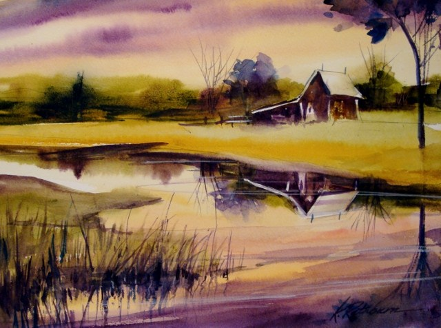 """Sunset"" original fine art by Kathy Los-Rathburn"