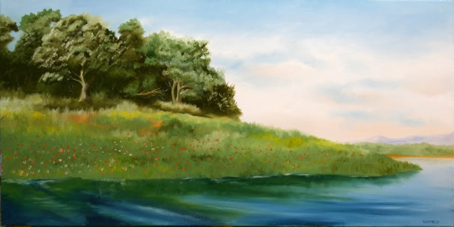 """Folsom Lake in the Spring Oil Painting by Northern California Artist Mark Webster"" original fine art by Mark Webster"