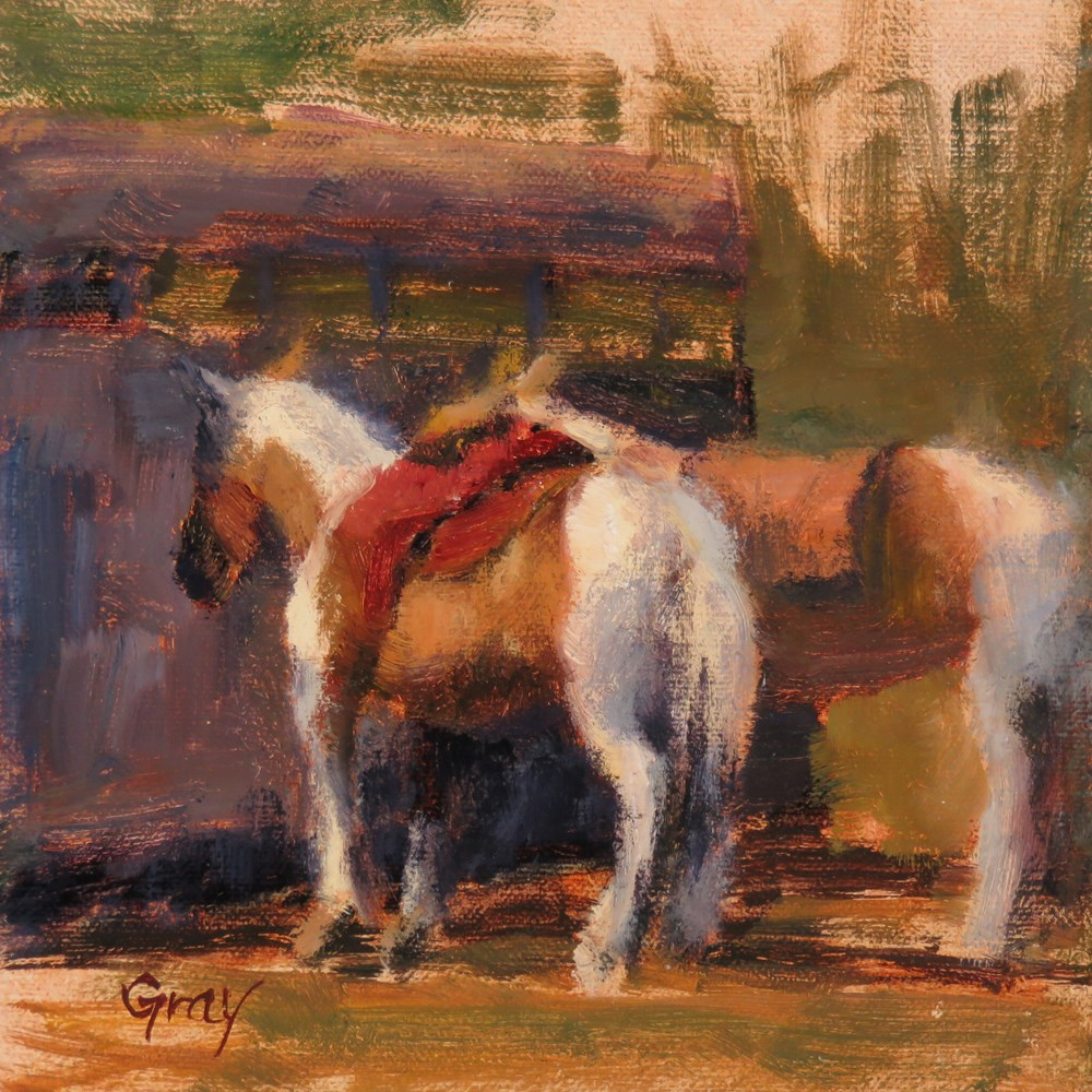 """Horses at the Riders Club"" original fine art by Naomi Gray"