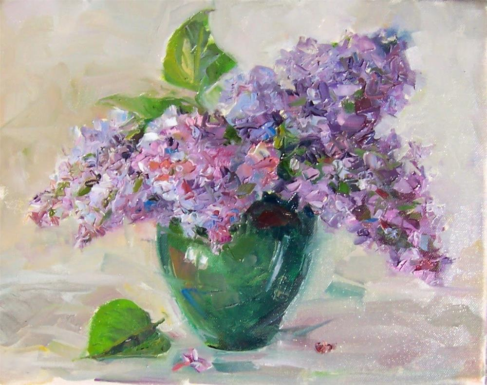 """Lilacs,still life,oil on canvas,11x14,price $400"" original fine art by Joy Olney"