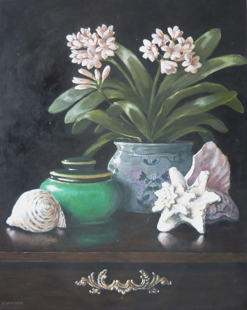 """Clivia and Shells"" original fine art by Helene Adamson"