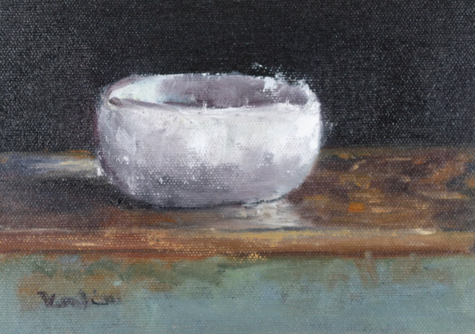 """oil painting still life with white bowl"" original fine art by Carrie Venezia"
